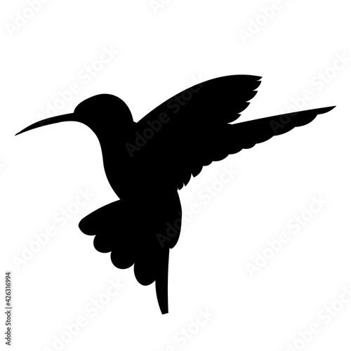American tropical bird hummingbird flutters and flaps its wings vector black iso Fototapete