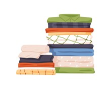 Stack Of Neat And Clean Clothes. Pile Of Neatly Folded Shirts, Tshirts, Jeans, Trousers, Pants And Bath Towels. Flat Cartoon Vector Illustration Isolated On White Background
