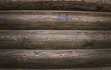 Wall Of Timber, Wooden. Without Painting, Visible Wood, Texture, Cracks And Crevices, Front View...