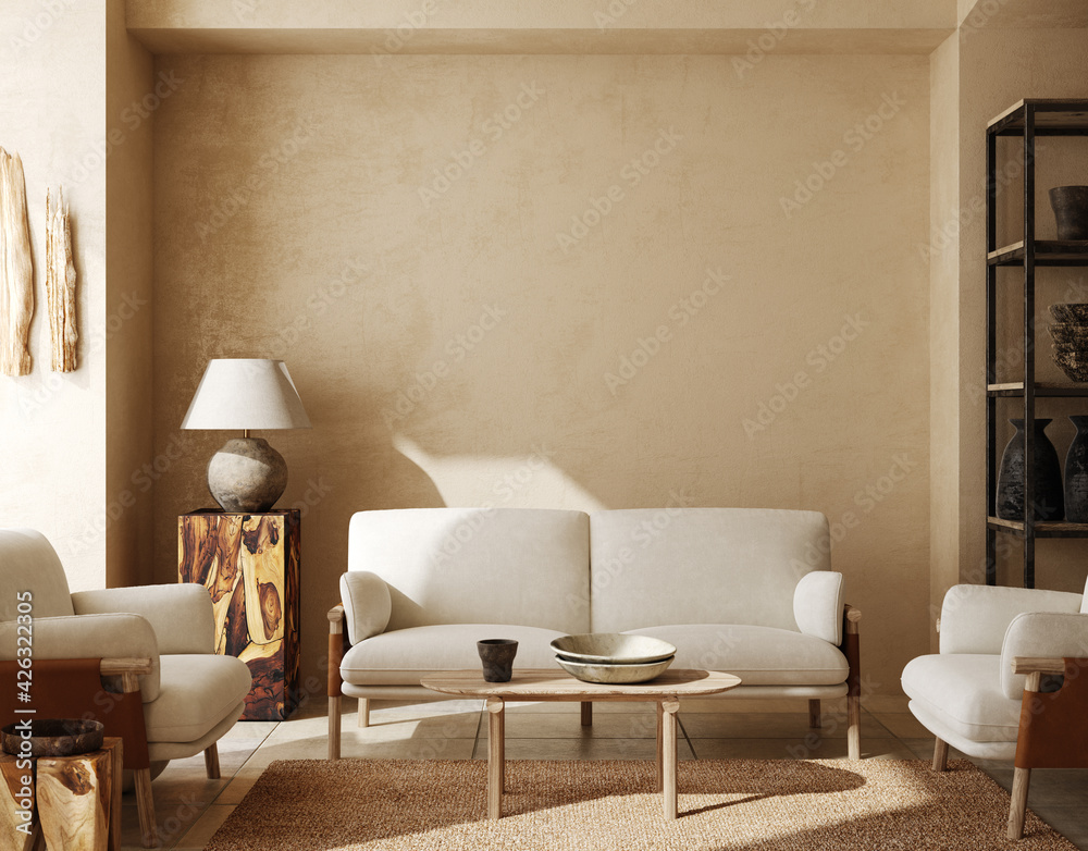 Fototapeta Contemporary nomadic home interior background in warm beige tones, 3d render