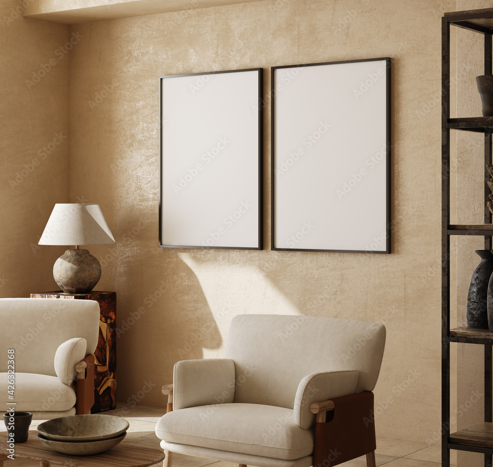 Fototapeta Mockup frames in contemporary nomadic home interior background in warm beige tones, 3d render