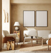 canvas print picture - Mockup frames in contemporary nomadic home interior background in warm beige tones, 3d render