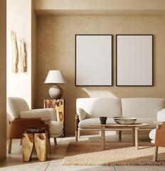Mockup frames in contemporary nomadic home interior background in warm beige tones, 3d render