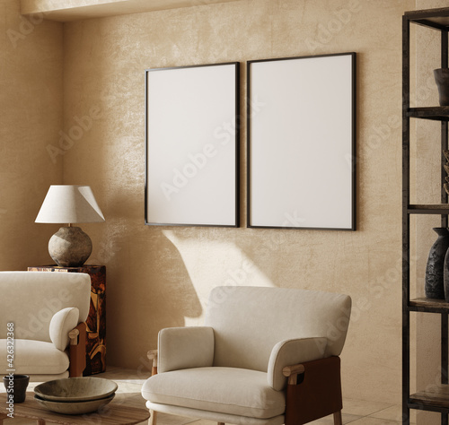 canvas print motiv - artjafara : Mockup frames in contemporary nomadic home interior background in warm beige tones, 3d render
