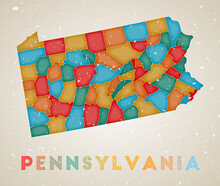 Pennsylvania Map. Us State Poster With Colored Regions. Old Grunge Texture. Vector Illustration Of Pennsylvania With Us State Name.