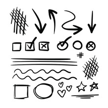 Vector Set Of Hand Drawn Doodle Elements, Arrows Isolated On White Background, Check Boxes And Lines.