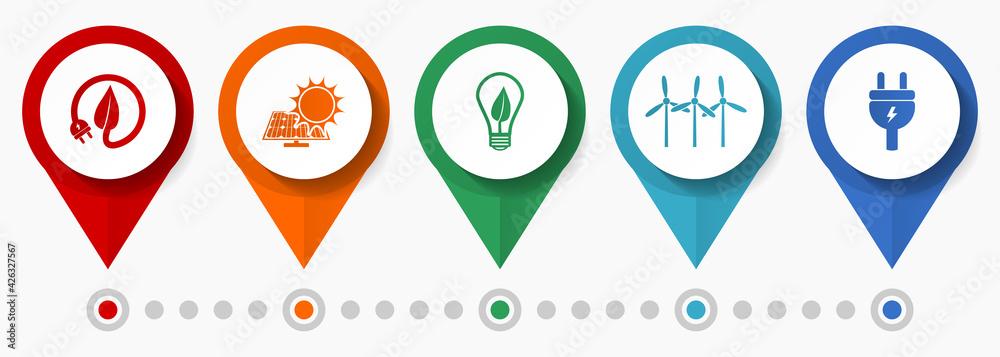 Fototapeta Renewable energy concept vector icon set, flat design pointers, infographic template
