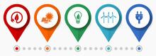 Renewable Energy Concept Vector Icon Set, Flat Design Pointers, Infographic Template