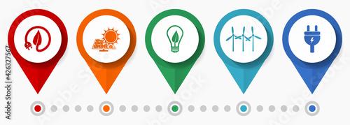 Fotografia Renewable energy concept vector icon set, flat design pointers, infographic temp