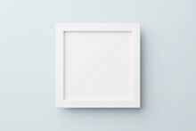 Rectangular Wall Picture Photo Frame Mockup In Blue Background, Banner Or Poster Template, 3d Render.