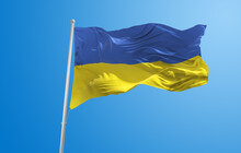 Large Flag Of Ukraine  Waving In The Wind On Flagpole Against The Sky With Clouds On Sunny Day. 3d Illustration