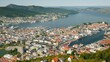 A view of the city of Bergen, below are the marinas and large cruise ships