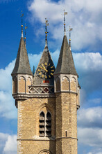 Town Hall In The Netherlands With A Belfry, A Flemish Clock Tower In Sluis In The Netherlands
