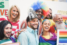 Multi Generational People Celebrating At Gay Pride Event - Main Focus On Drag Queen Face