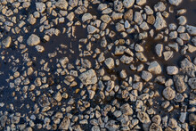 Rubble On The Melted Snow, Floods. The Texture Of The Stones. Background. Rubble For Construction.