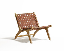 3d Rendering Of An Isolated Modern Red Leather And Wooden Lounge Chair