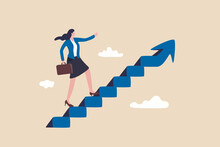 Career Success For Woman Or Female Leadership, Goal Achievement And Business Challenge Or Gender Equality Concept, Confidence Businesswoman Take Small Step Walking Up Staircase With Arrow Pointing Up.