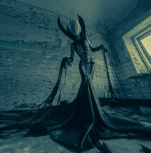 Woman Portrays Alien Creature Inside Abandoned House.