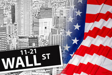 New York Stock Exchange. A Wall Street Sign And A Black-and-white Panorama Of The City. The Crisis In The US Stock Market. News From The American Stock Exchange. Economic Problems In America.