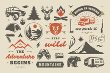 Summer Camping And Outdoor Adventures Design Elements Set, Quotes And Icons Vector Illustration.