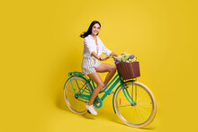 Full Length Photo Of Happy Charming Lady Ride Bicycle Summer Mood Isolated On Yellow Color Background