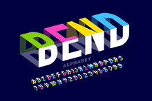 Bending 3D Style Font Design, Typography Design, Alphabet Letters And Numbers