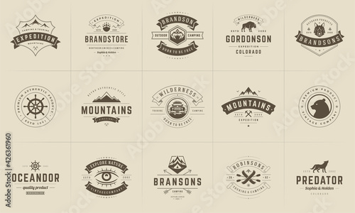 Fotografija Camping logos and badges templates vector design elements and silhouettes set