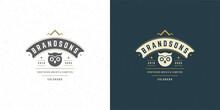 Owl Head Logo Emblem Vector Illustration Silhouette For Shirt Or Print Stamp