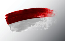 Indonesia Flag Illustrated On Paint Brush Stroke