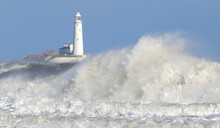 St Marys Lighthouse South Northumberland In Rough Seas, Big Wave