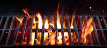 BBQ Grill With Bright Flames And Glowing Coals