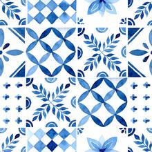 Rustic Blue Tile Watercolor Seamless Pattern