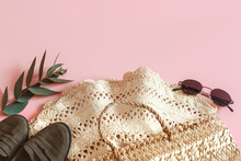 Spring Accessories And Clothes On A Pink Background