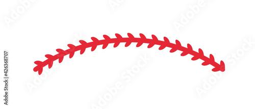 Red stitches of baseball Stitch design for baseball lovers Fototapet