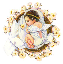Watercolor Baby Angel. A Newborn Baby In White Clothes Sleeps Among Cotton Flowers. Watercolor Illustration Isolated On White Background. Baby Shower Card.