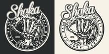 Surfing Vintage Round Label
