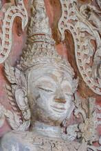 Face Of Buddha, Digital Photo Picture As A Background , Taken In Sisaket Temple Laos, Asia , Taken In Sisaket Temple , Luang Prabang, Laos, Asia