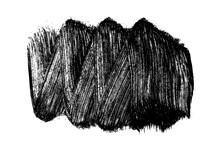 Black Brush Stroke Isolated On White. Ink Splatter. Paint Droplets. Digitally Generated Image. Vector Design Elements, Illustration, EPS 10.