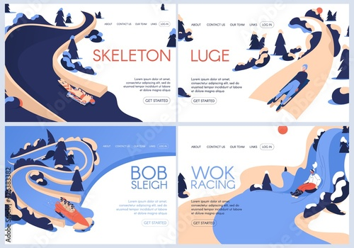 Canvas-taulu Vector landing pages set for luge, skeleton sport, bobsleigh and wok racing