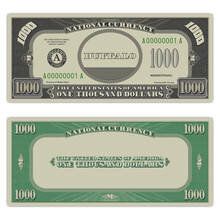 USA Fictional Paper Money. Obverse And Reverse Of A 1000 Dollar Banknote. Gray And Green Frame With Guilloche Mesh. Buffalo