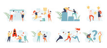 Business People Set Concept. Planning, Startup, Coaching And Problem Solving, Success. Vector Web Illustrations