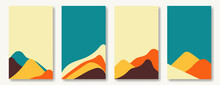 Flat Abstract Vector Design Set. Collection Of Natural Backgrounds In A Modern Style. Mountains In A Trendy Retro Palette