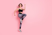 Full Body Photo Of Young Attractive Sportive Girl Happy Positive Smile Cross Fit Intense Training Isolated Over Pink Color Background