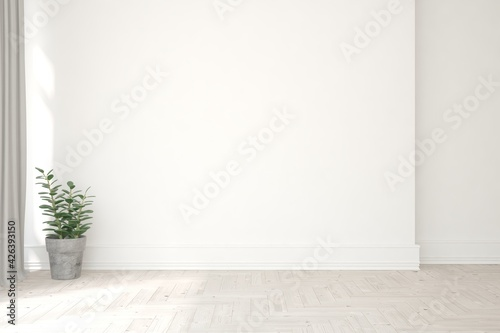 Fototapeta White empty room. Scandinavian interior design. 3D illustration