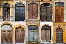 Collage Of Wooden Doors In The City Of Zagreb, Croatia