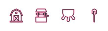 Set Line Farm House, Udder, Well And Shovel Icon. Vector