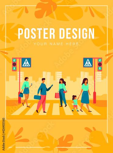 Fotografía Cartoon pedestrians walking through crosswalk isolated flat vector illustration