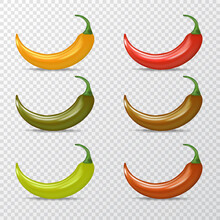 Vector Red, Green, Orange Chili Peppers Icons Set Isolated On Transparent Background. 3d Realistic Vector Color Chili Peppers Labels Collection