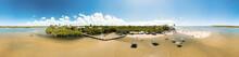 Vista Panorâmica Da Barra Do Jacuípe, Praia Localizada No Litoral Do Município De Camaçari, Na Bahia, Brasil