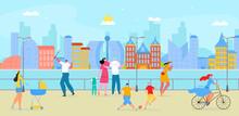 Walking People At Embankment City, Vector Illustration. Summer Outdoor Landscape, Flat Man Woman Character Near River, Ocean Or Sea Beach.